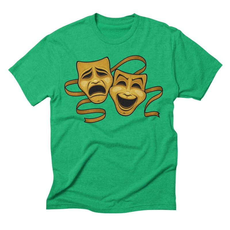 Gold Comedy And Tragedy Theater Masks Men's Triblend T-Shirt by Fizzgig's Artist Shop