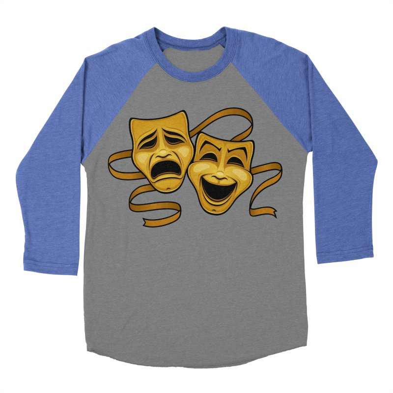 Gold Comedy And Tragedy Theater Masks Men's Baseball Triblend Longsleeve T-Shirt by Fizzgig's Artist Shop