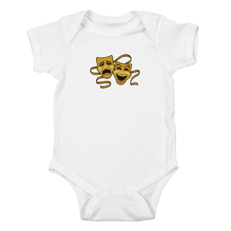 Gold Comedy And Tragedy Theater Masks Kids Baby Bodysuit by Fizzgig's Artist Shop