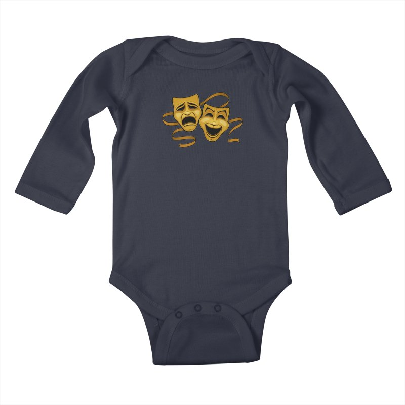 Gold Comedy And Tragedy Theater Masks Kids Baby Longsleeve Bodysuit by Fizzgig's Artist Shop