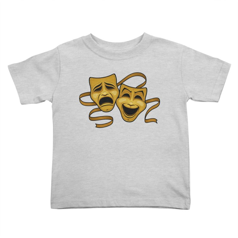 Gold Comedy And Tragedy Theater Masks Kids Toddler T-Shirt by Fizzgig's Artist Shop