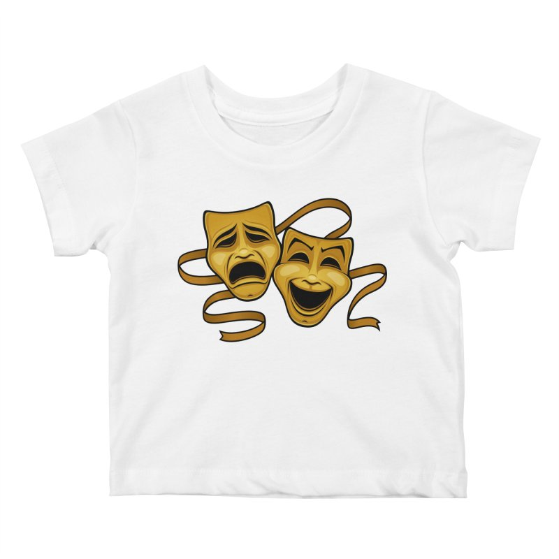 Gold Comedy And Tragedy Theater Masks Kids Baby T-Shirt by Fizzgig's Artist Shop