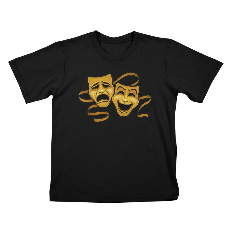 Gold Comedy And Tragedy Theater Masks Kids T-Shirt by Fizzgig's Artist Shop
