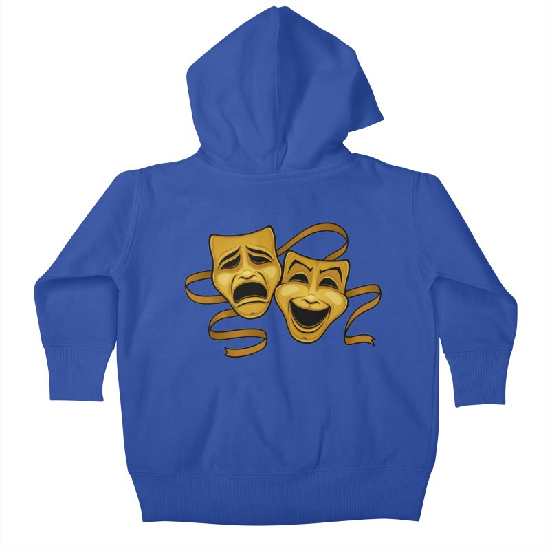 Gold Comedy And Tragedy Theater Masks Kids Baby Zip-Up Hoody by Fizzgig's Artist Shop