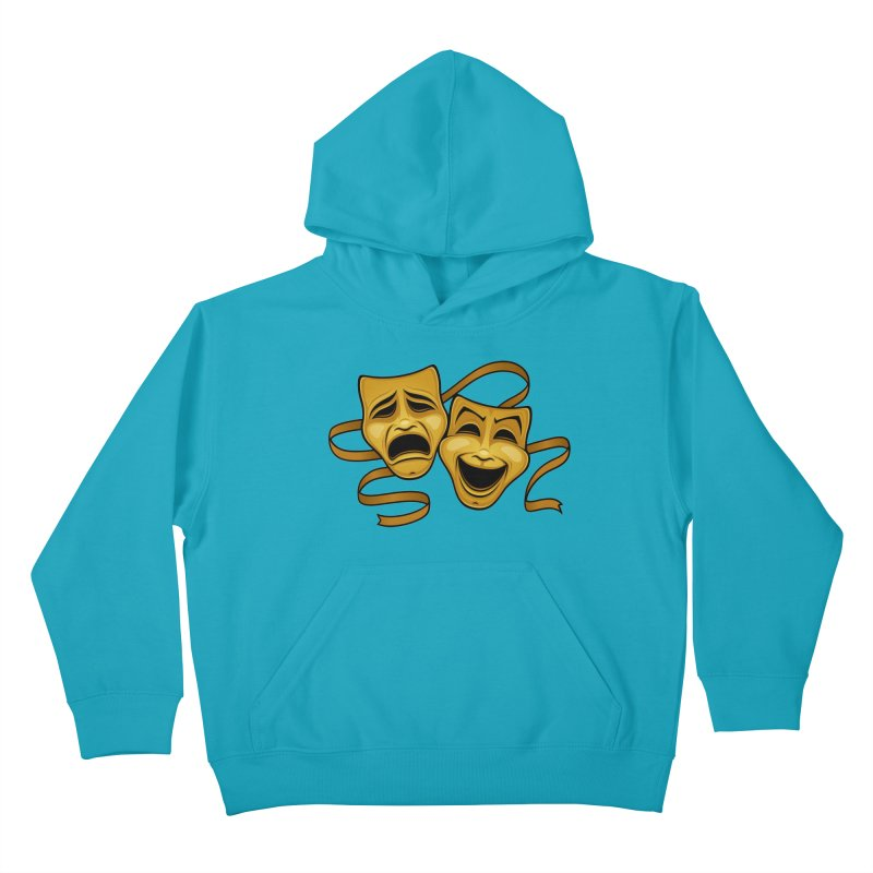 Gold Comedy And Tragedy Theater Masks Kids Pullover Hoody by Fizzgig's Artist Shop