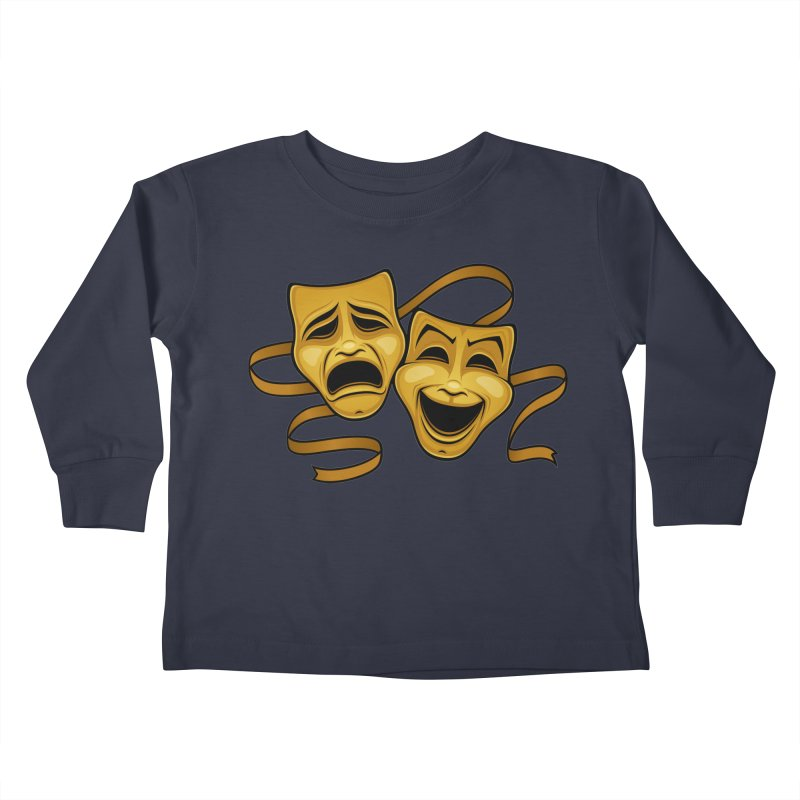 Gold Comedy And Tragedy Theater Masks Kids Toddler Longsleeve T-Shirt by Fizzgig's Artist Shop
