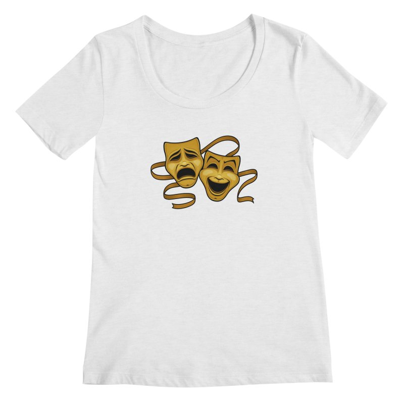 Gold Comedy And Tragedy Theater Masks Women's Regular Scoop Neck by Fizzgig's Artist Shop