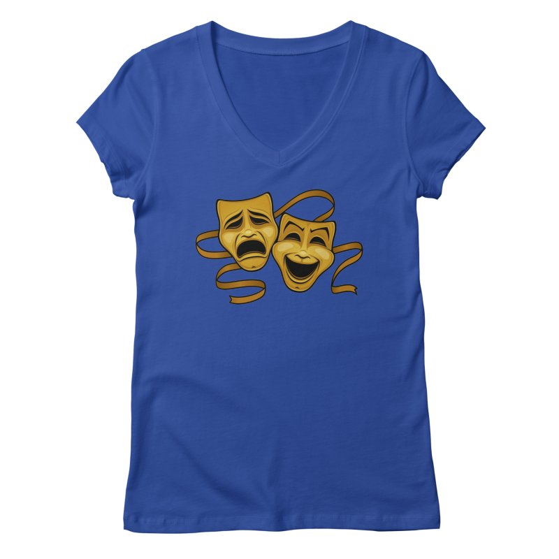 Gold Comedy And Tragedy Theater Masks Women's Regular V-Neck by Fizzgig's Artist Shop