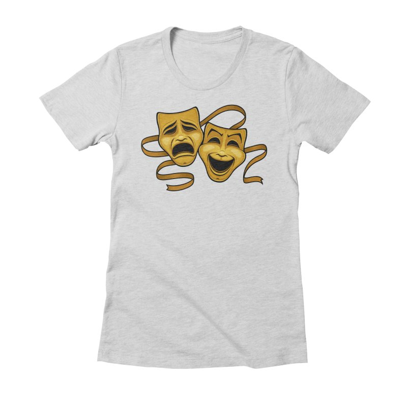 Gold Comedy And Tragedy Theater Masks Women's Fitted T-Shirt by Fizzgig's Artist Shop