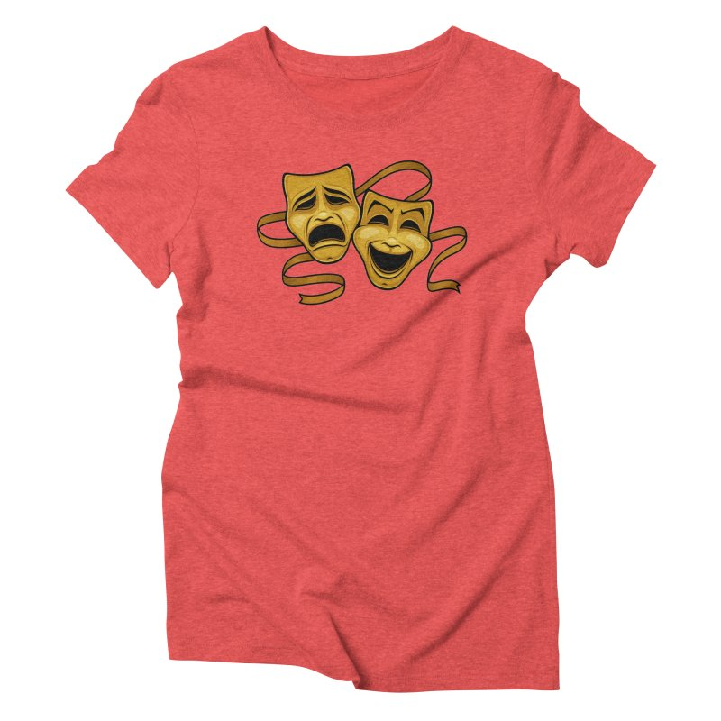 Gold Comedy And Tragedy Theater Masks Women's Triblend T-Shirt by Fizzgig's Artist Shop