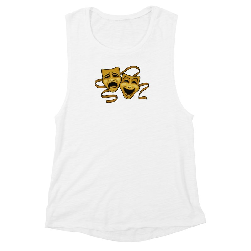 Gold Comedy And Tragedy Theater Masks Women's Muscle Tank by Fizzgig's Artist Shop