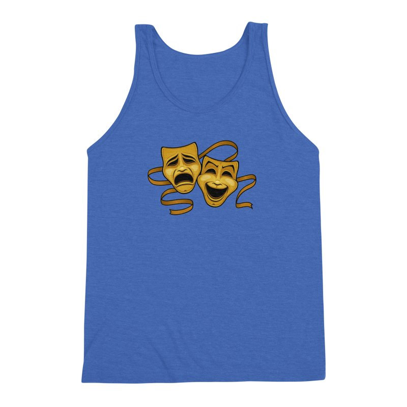 Gold Comedy And Tragedy Theater Masks Men's Triblend Tank by Fizzgig's Artist Shop