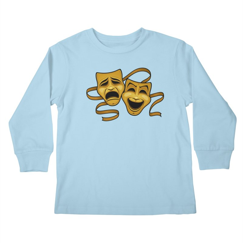Gold Comedy And Tragedy Theater Masks Kids Longsleeve T-Shirt by Fizzgig's Artist Shop