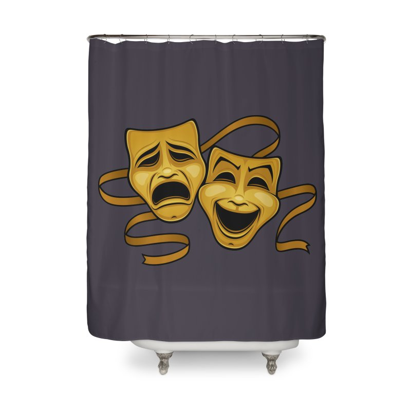 Gold Comedy And Tragedy Theater Masks Home Shower Curtain by Fizzgig's Artist Shop