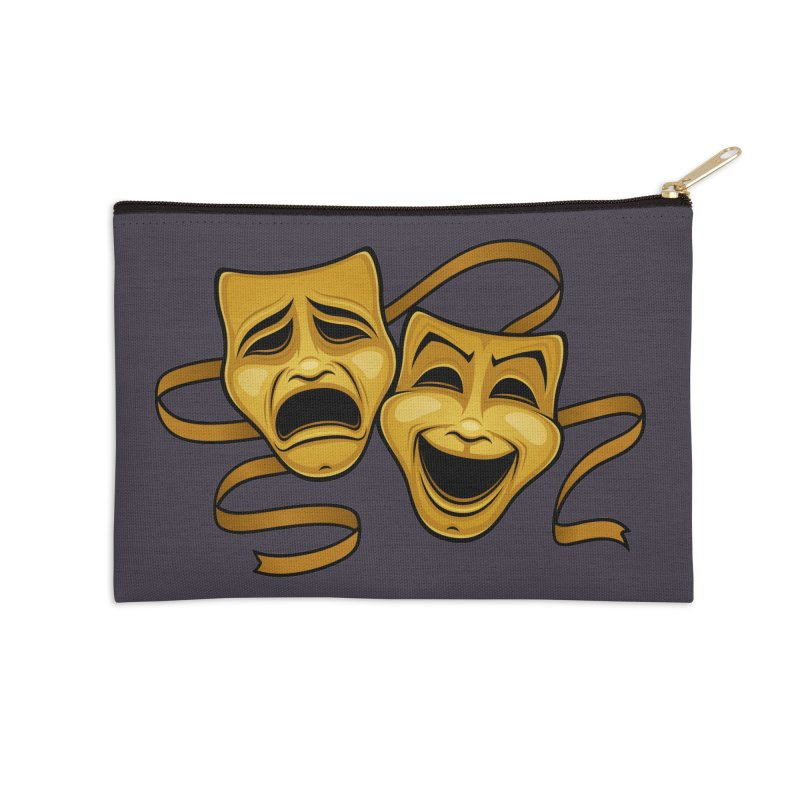 Gold Comedy And Tragedy Theater Masks Accessories Zip Pouch by Fizzgig's Artist Shop