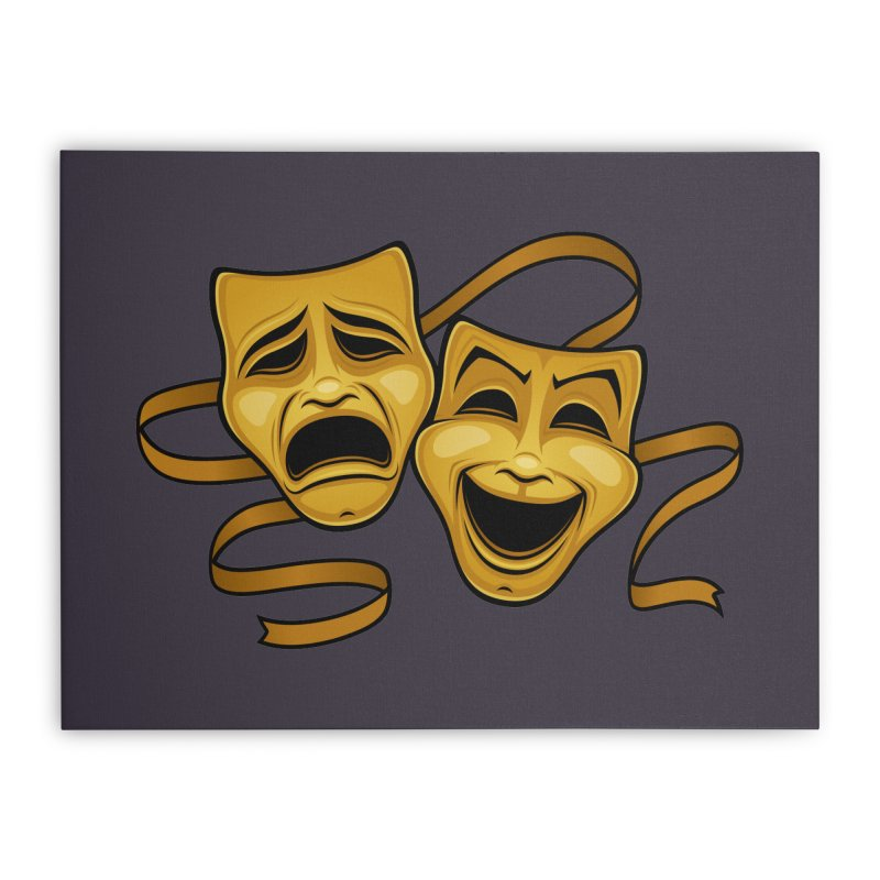 Gold Comedy And Tragedy Theater Masks Home Stretched Canvas by Fizzgig's Artist Shop