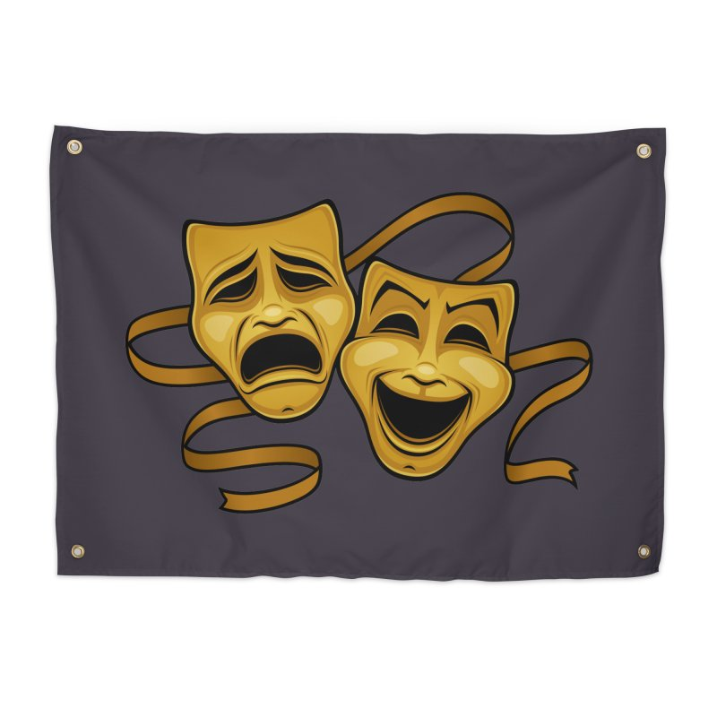 Gold Comedy And Tragedy Theater Masks Home Tapestry by Fizzgig's Artist Shop