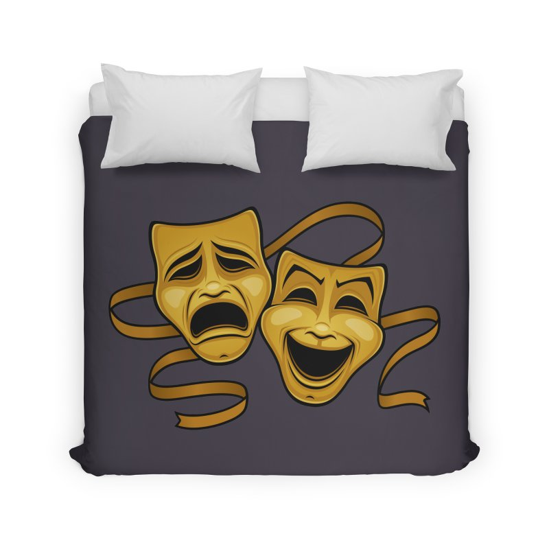 Gold Comedy And Tragedy Theater Masks Home Duvet by Fizzgig's Artist Shop