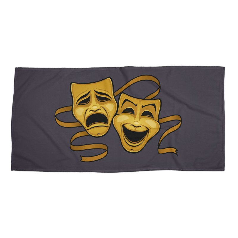 Gold Comedy And Tragedy Theater Masks Accessories Beach Towel by Fizzgig's Artist Shop