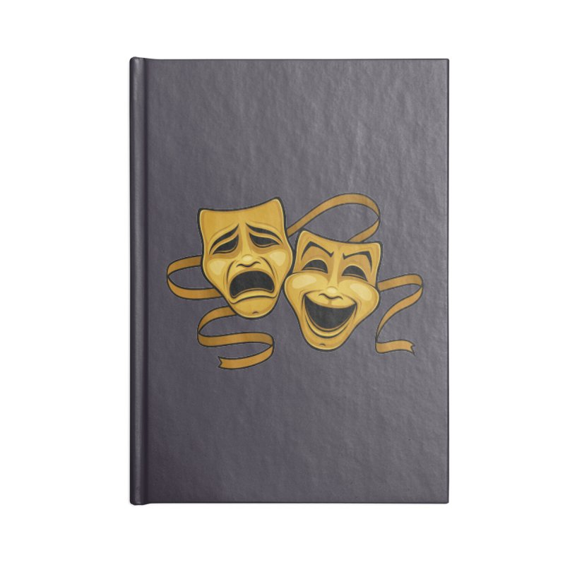 Gold Comedy And Tragedy Theater Masks Accessories Notebook by Fizzgig's Artist Shop