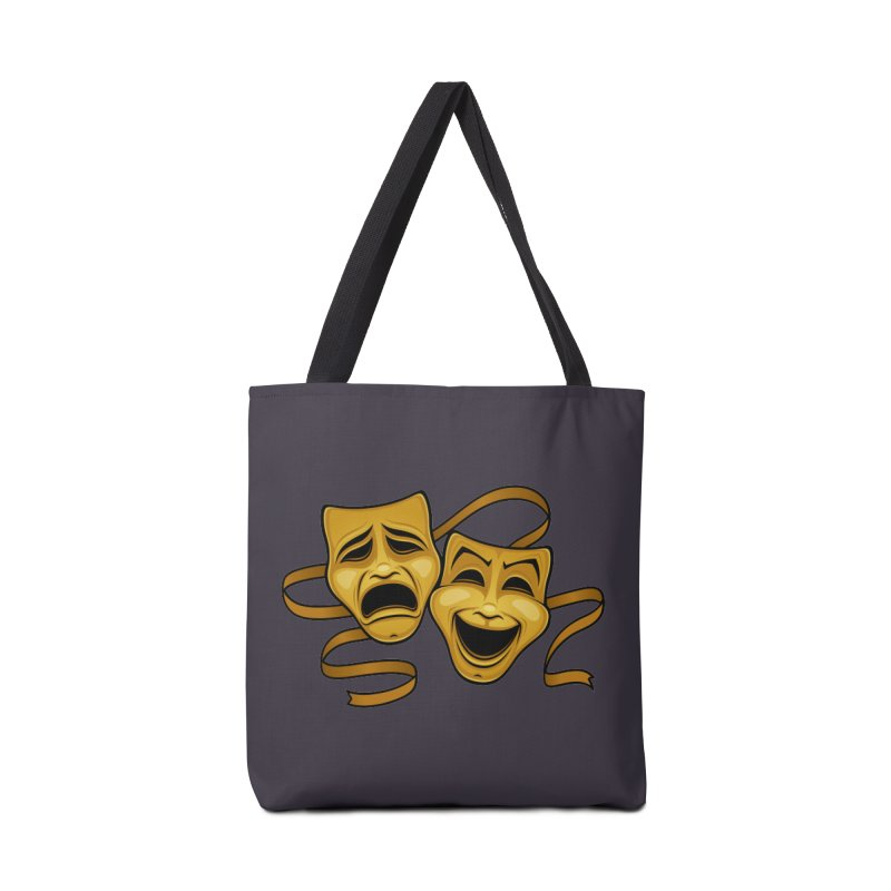 Gold Comedy And Tragedy Theater Masks Accessories Bag by Fizzgig's Artist Shop
