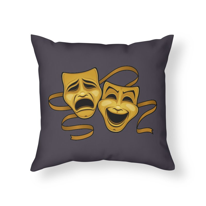Gold Comedy And Tragedy Theater Masks Home Throw Pillow by Fizzgig's Artist Shop