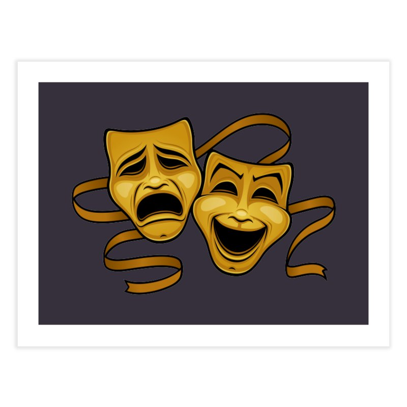 Gold Comedy And Tragedy Theater Masks Home Fine Art Print by Fizzgig's Artist Shop