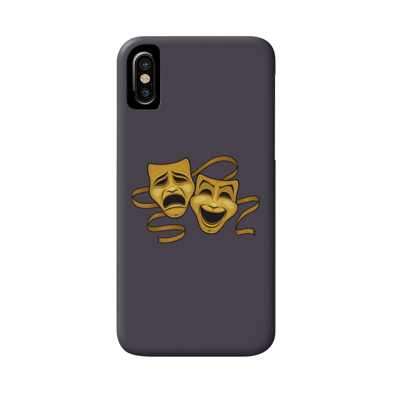 Gold Comedy And Tragedy Theater Masks Accessories Phone Case by Fizzgig's Artist Shop