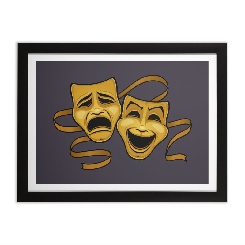 Gold Comedy And Tragedy Theater Masks Home Framed Fine Art Print by Fizzgig's Artist Shop