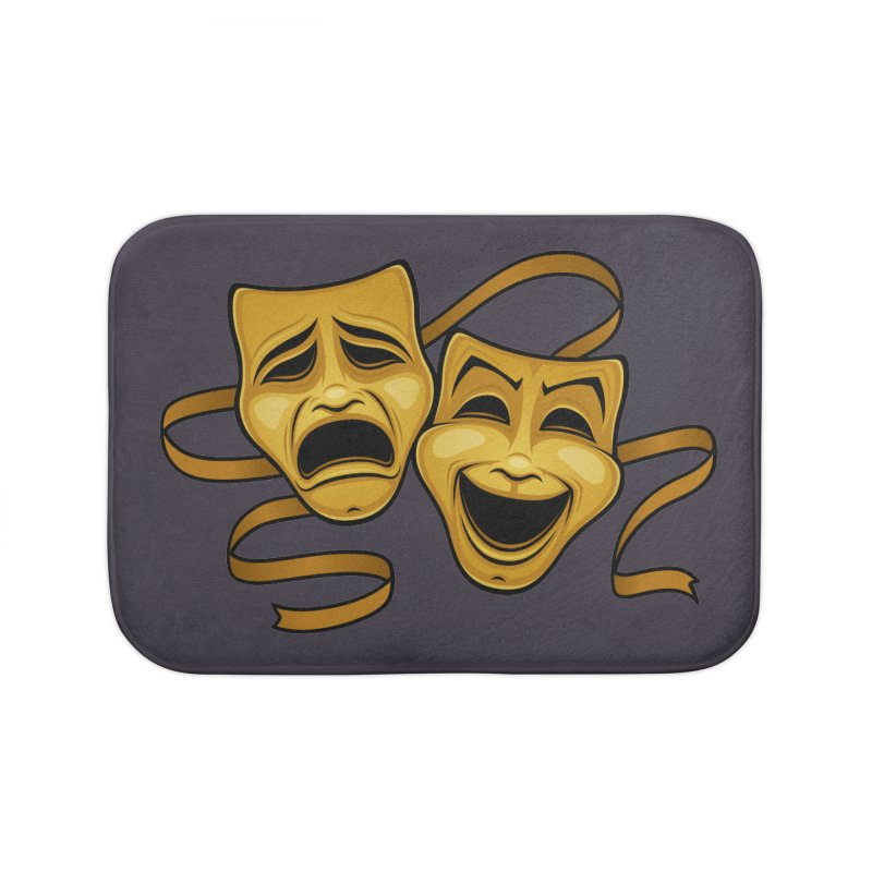 Gold Comedy And Tragedy Theater Masks Home Bath Mat by Fizzgig's Artist Shop