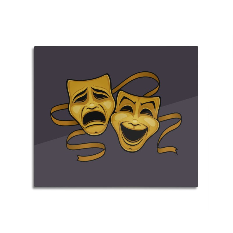 Gold Comedy And Tragedy Theater Masks Home Mounted Acrylic Print by Fizzgig's Artist Shop