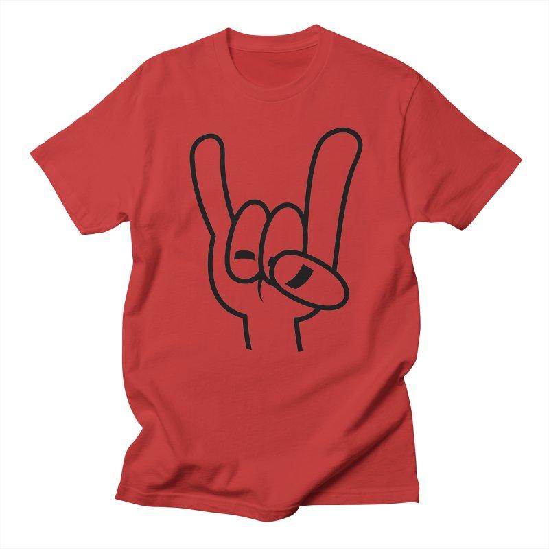 Heavy Metal Devil Horns Black Line Men's T-Shirt by Fizzgig's Artist Shop