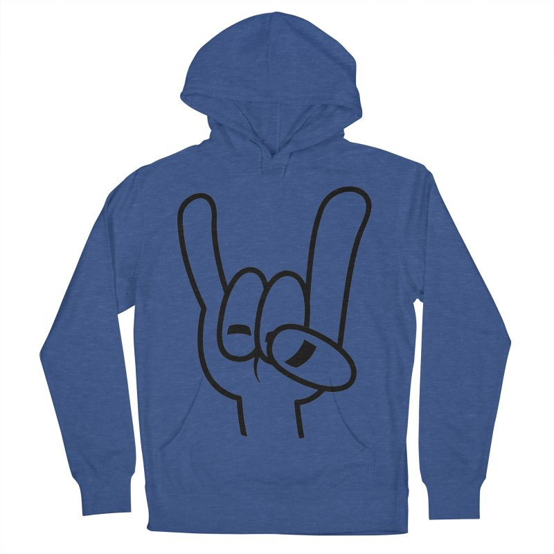 Heavy Metal Devil Horns Black Line Men's French Terry Pullover Hoody by Fizzgig's Artist Shop