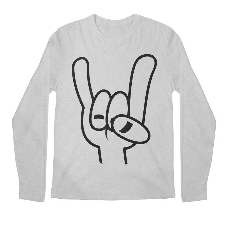 Heavy Metal Devil Horns Black Line Men's Regular Longsleeve T-Shirt by Fizzgig's Artist Shop