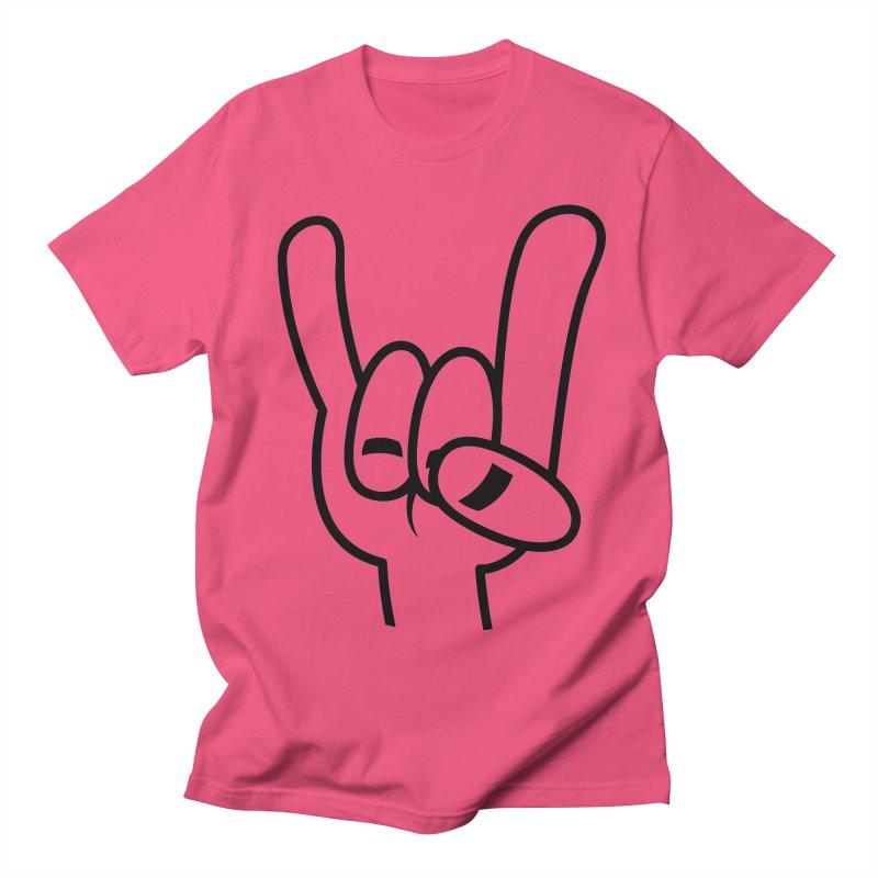 Heavy Metal Devil Horns Black Line Women's Regular Unisex T-Shirt by Fizzgig's Artist Shop