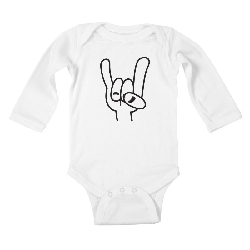 Heavy Metal Devil Horns Black Line Kids Baby Longsleeve Bodysuit by Fizzgig's Artist Shop