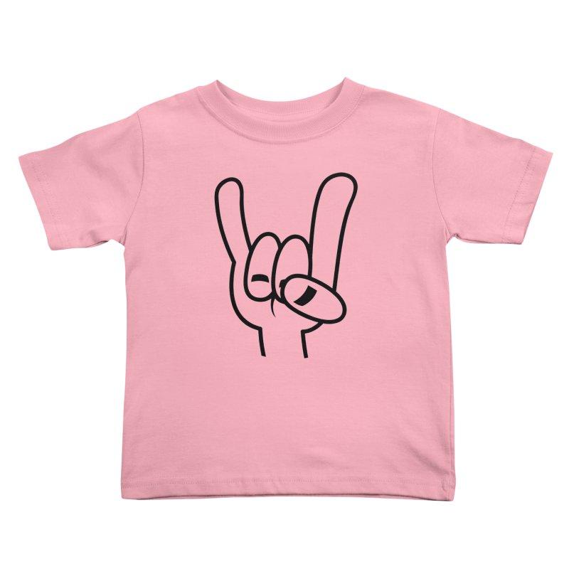 Heavy Metal Devil Horns Black Line Kids Toddler T-Shirt by Fizzgig's Artist Shop