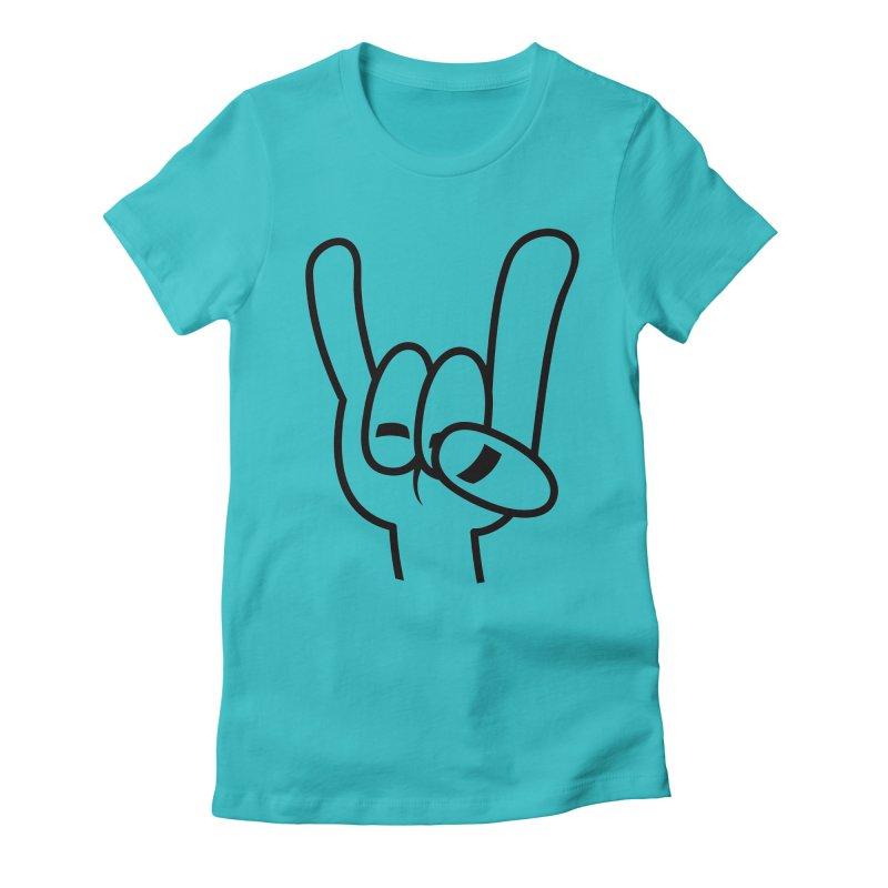 Heavy Metal Devil Horns Black Line Women's Fitted T-Shirt by Fizzgig's Artist Shop