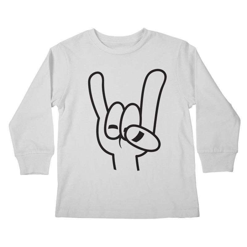 Heavy Metal Devil Horns Black Line Kids Longsleeve T-Shirt by Fizzgig's Artist Shop