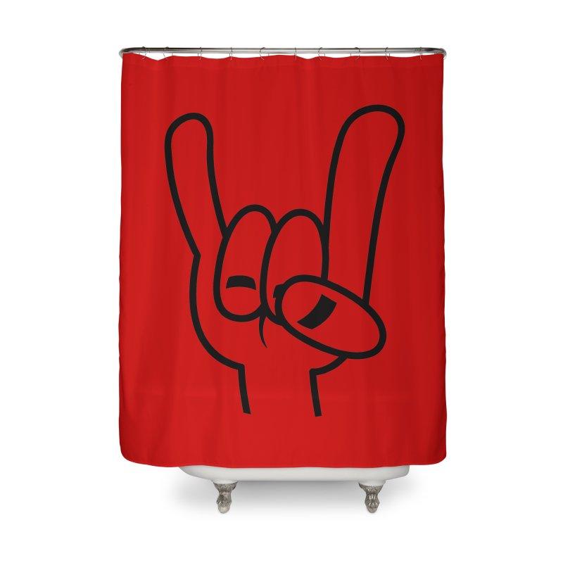 Heavy Metal Devil Horns Black Line Home Shower Curtain by Fizzgig's Artist Shop
