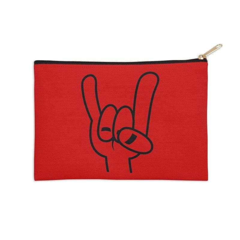 Heavy Metal Devil Horns Black Line Accessories Zip Pouch by Fizzgig's Artist Shop