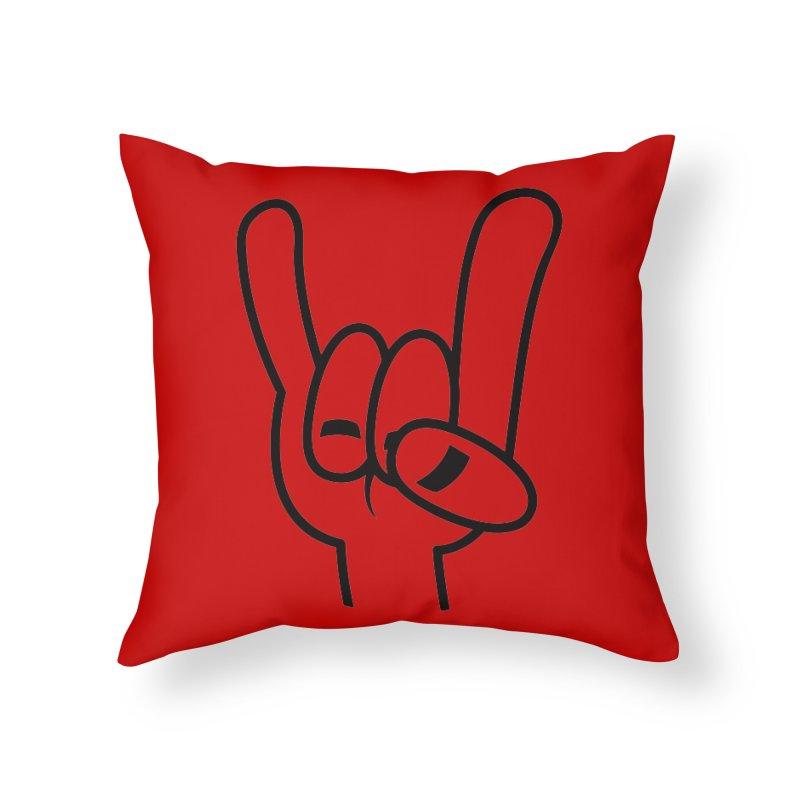 Heavy Metal Devil Horns Black Line Home Throw Pillow by Fizzgig's Artist Shop