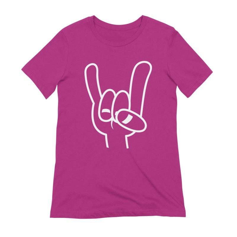 Heavy Metal Devil Horns White Line Women's Extra Soft T-Shirt by Fizzgig's Artist Shop