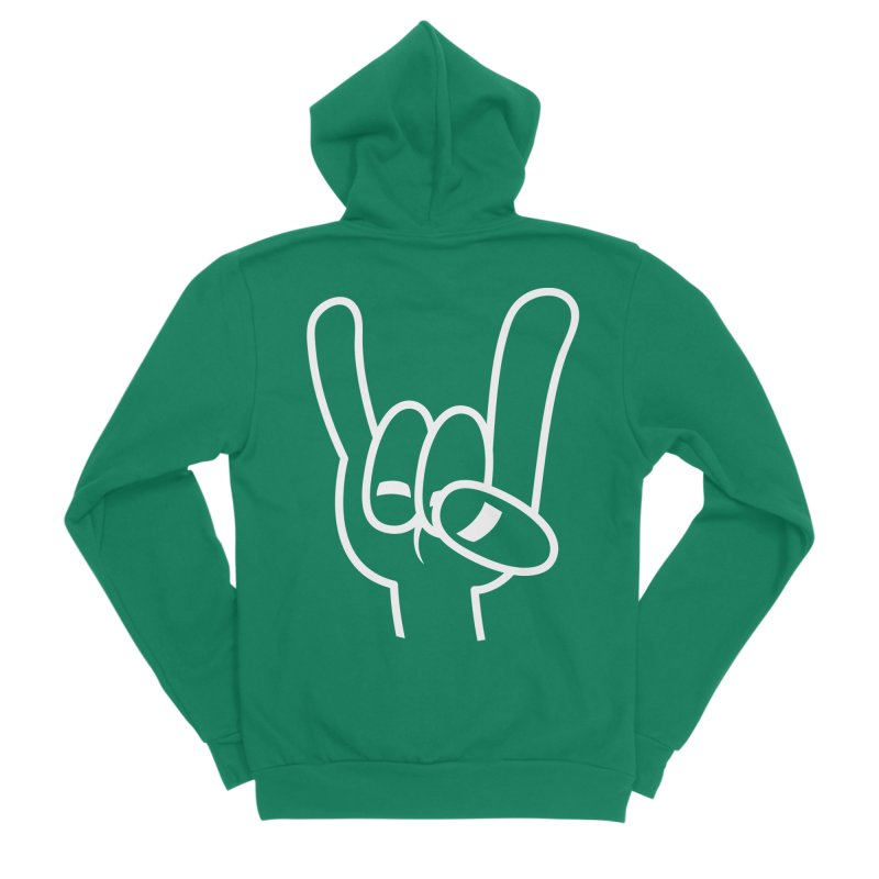 Heavy Metal Devil Horns White Line Women's Sponge Fleece Zip-Up Hoody by Fizzgig's Artist Shop