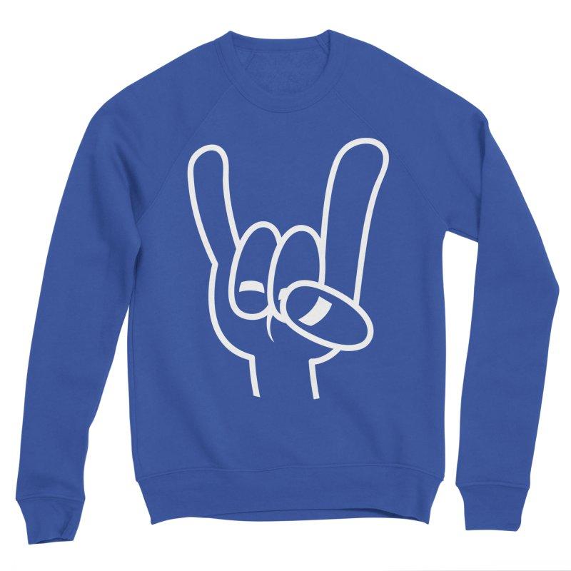 Heavy Metal Devil Horns White Line Men's Sponge Fleece Sweatshirt by Fizzgig's Artist Shop
