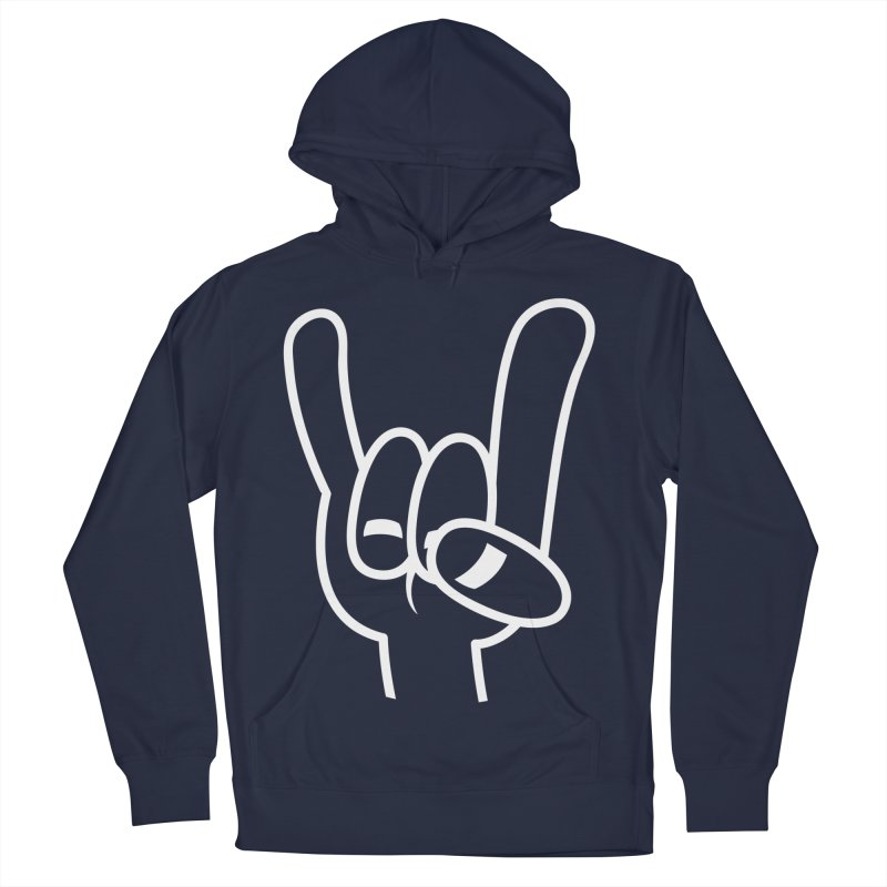 Heavy Metal Devil Horns White Line Men's French Terry Pullover Hoody by Fizzgig's Artist Shop