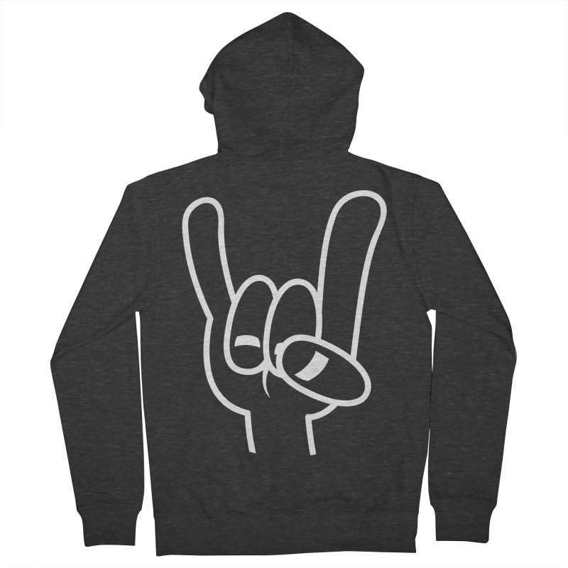 Heavy Metal Devil Horns White Line Men's French Terry Zip-Up Hoody by Fizzgig's Artist Shop