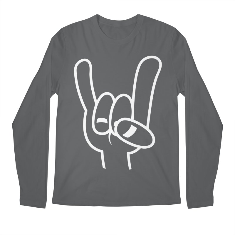 Heavy Metal Devil Horns White Line Men's Regular Longsleeve T-Shirt by Fizzgig's Artist Shop