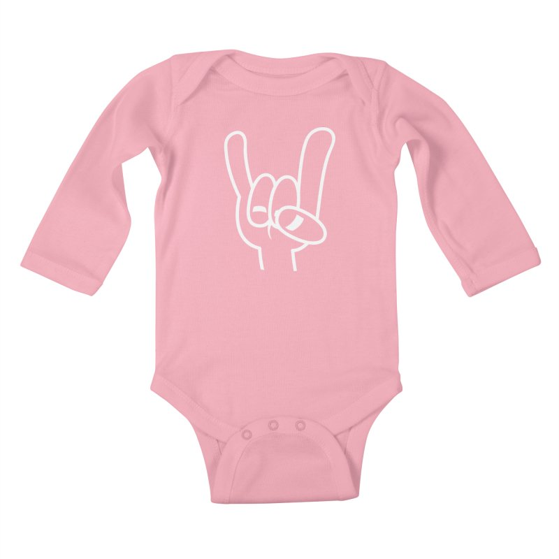 Heavy Metal Devil Horns White Line Kids Baby Longsleeve Bodysuit by Fizzgig's Artist Shop