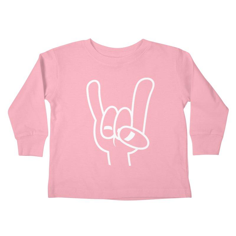 Heavy Metal Devil Horns White Line Kids Toddler Longsleeve T-Shirt by Fizzgig's Artist Shop